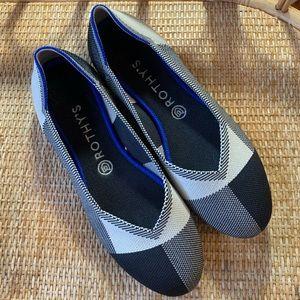 Rothy's Captoe Black & White Round Toe Flats 9.5